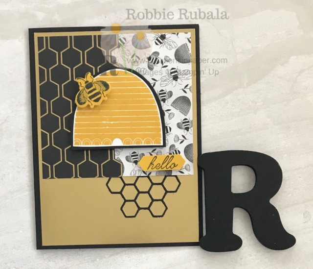 Isn't this a cute bee card? Do you like the honeycomb element peeking out of the bottom as well as the cut edge of the black and gold designer series paper? Check out the details for the Bee Hello Sketch Idea.