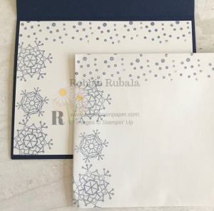 I love making snow cards. This inside and envelope go with my Snow Collage Inspiration creation. Check it out.
