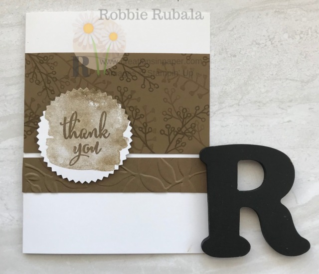 Check out this idea for a masculine card. The One Color Wonder in Soft Suede makes a great thank you card to send to a guy.