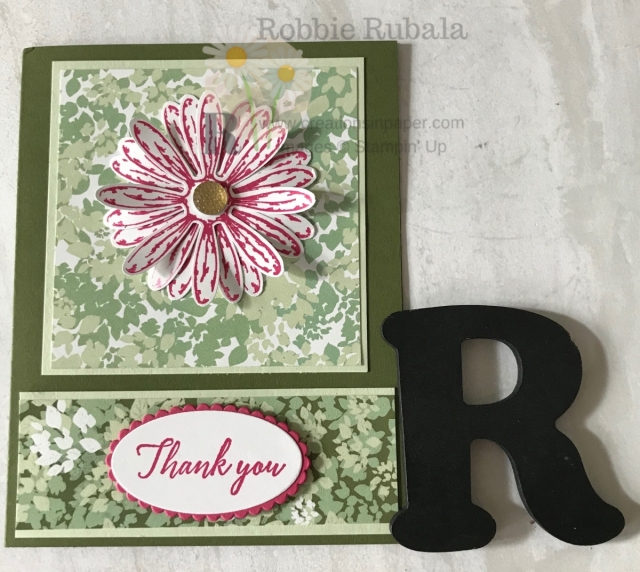I hadn't used the large daisy in a while and decided to play with it. I combined it with the Garden Lane dsp for this cute Daisy Delight Thank You idea. Get the details for this thank you card!