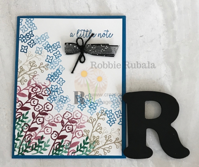 This started out as a One Sheet Wonder idea. When it did not work out, I decided to use some collage stamping for my Love What You Do A Little Note card.