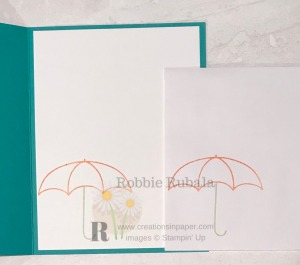 This cute umbrella image makes a fun card front. Check out the Under My Umbrella Catalog C.A.S.E. creation to see the card front.