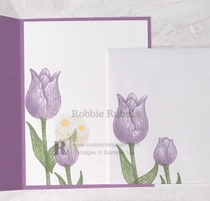 These tulips are fun to play with and make great Spring cards. Get the details for my Sponged Timeless Tulips One Layer creation.