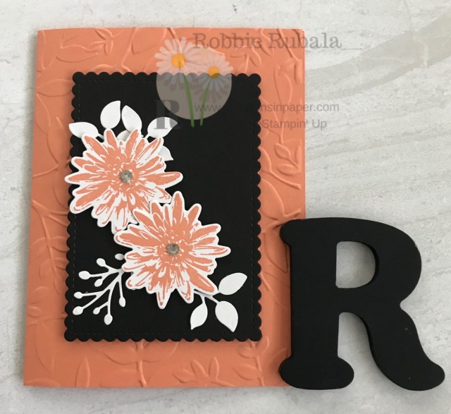 The black scalloped rectangle makes this a striking card. Check out the Positive Thoughts in Grapefruit Grove for all the details.