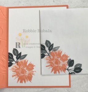 I used a retired set for the image for the inside of card and envelope. To see which set it goes with check out my Positive Thoughts in Grapefruit Grove creation.