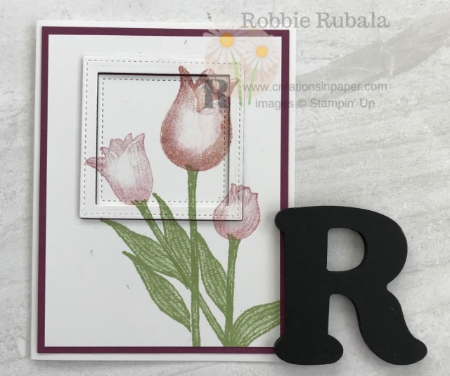 Do tulips mean Spring is here to you? Check out this adorable Framed Timeless Tulips creation. Great way to use your dies!