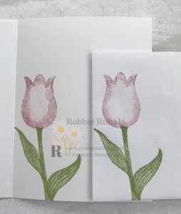 This image shows a fun way to use your dies. Check out the card front for the Framed Timeless Tulips card to see how I used them.