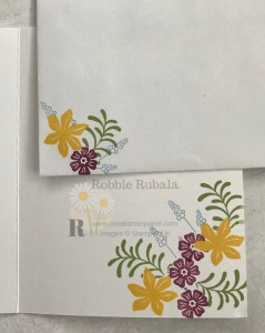 These flowers are perfect for cluster stamping.  Check out the Collage Stamped Hello creation for a fun way to attach your ribbon.