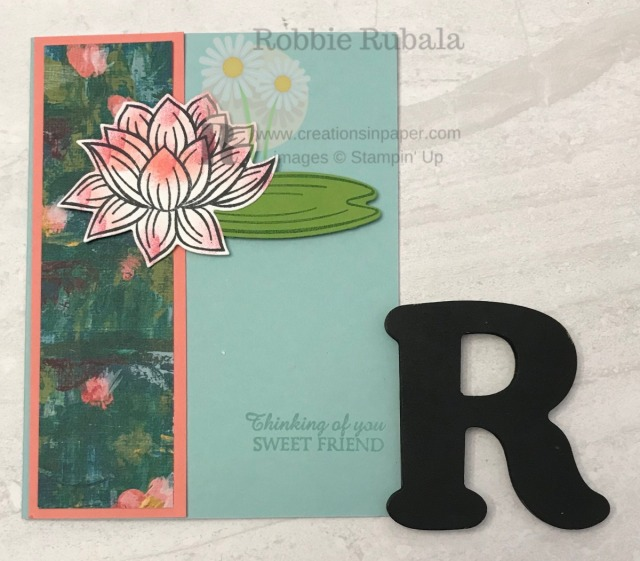 Sale-a-bration has a suite of products you can earn for free with a qualifying order. I used those products for my Lily Pad Inspiration creation. Get the information for this pretty card.