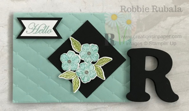 A striking All Occasion card using a set from the Occasions Catalog. This Forever Blossoms Hello creation is easy also. Check it out.
