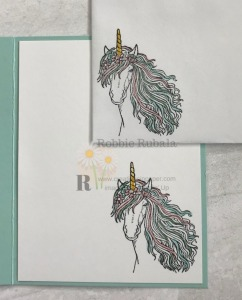This image makes a great card. I added some Wink of Stella as unicorns need sparkle. Check out the video for the Leave a Little Sparkle Fast and Fabulous creation.