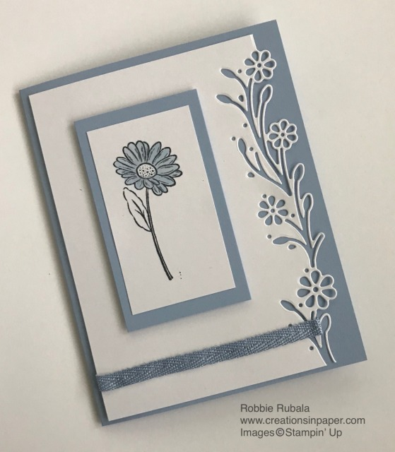 This is a pretty delicate card using some new product. Get all the details for the Ornate Garden ~ Daisy in Seaside Spray creation.