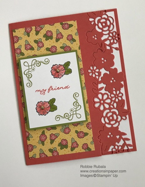 This die cut makes a great fun edge for a card. Get the directions for how to make the Ornate Style Die Cut Edge creation.