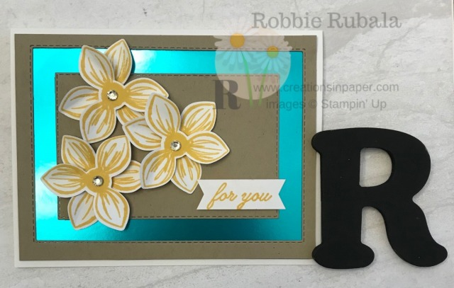 The foil paper is so pretty as a background for this card. Check out the video for the C.A.S.E. the Catty Floral Essence creation.