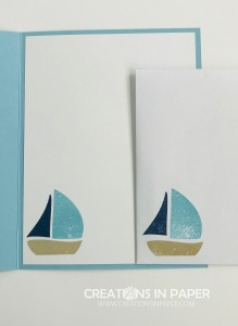 This cute sailboat pairs really well with the Come Sail Away designer series paper. Check out the #ShopYourCraftStash Swirly Bird creation for a great masculine idea.