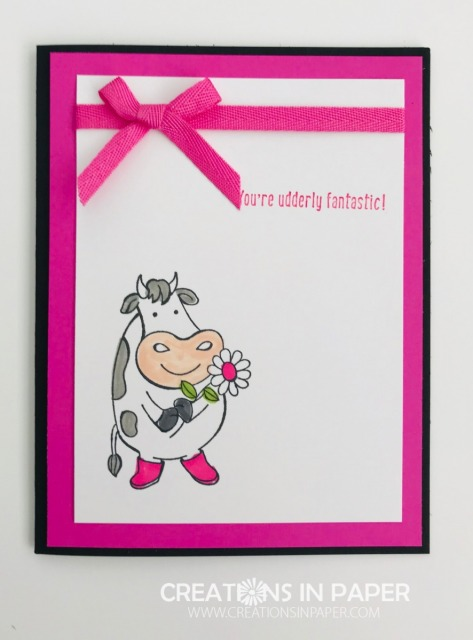 This cute cow looks adorable on the Magenta Madness new In Color. Learn how I colored the flower center and boots and stamped the sentiment since we don't have ink.
