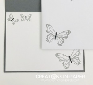 Curious what color combination I used with thes pretty gray butterflies? See the card front and get the details!
