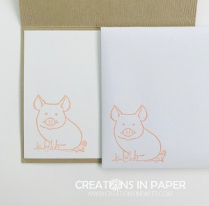 This adorable pig makes the cutest kids cards. See the card front for This Little Piggy Hogs and Kisses creation.