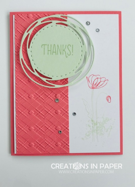 Simple elements can make a great card. Adding some embossing and a circle is perfect for this Flirty Flamingo Argyle creation.