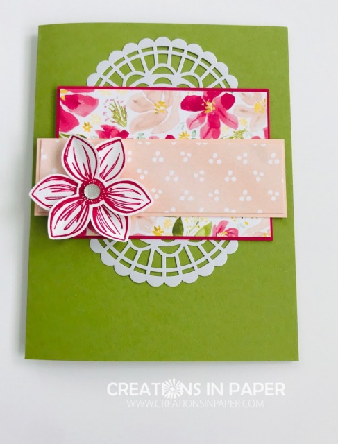 This is a great layout. Change the doilies for a circle element and you have a masculine card. Get the details for the Best Dressed Floral Essence creation.