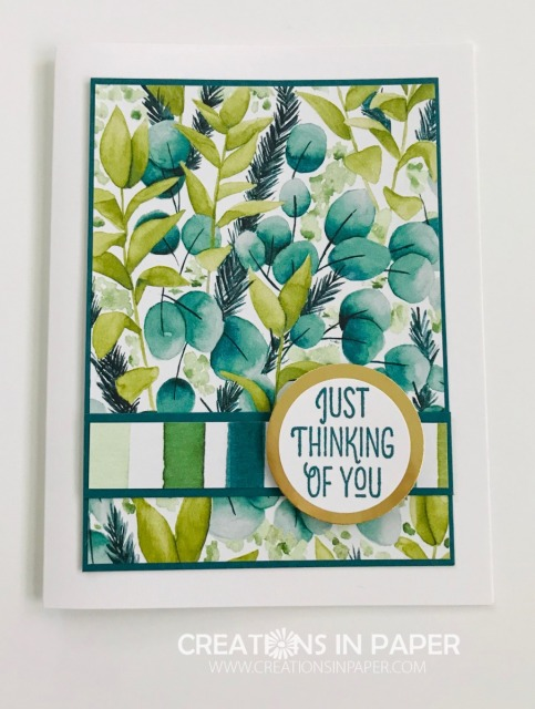 This paper is beautiful. The vibrant colors really stand out on your card. I let the paper be the focus on my Forever Greenery Thinking of You card. Click the photo to see the details.