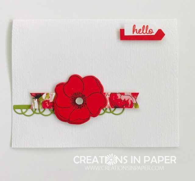 This clean and simple idea uses an embossed background for the card front to add interest. Watch the video for the 10 Minute Poppy Hello creation for all the details.