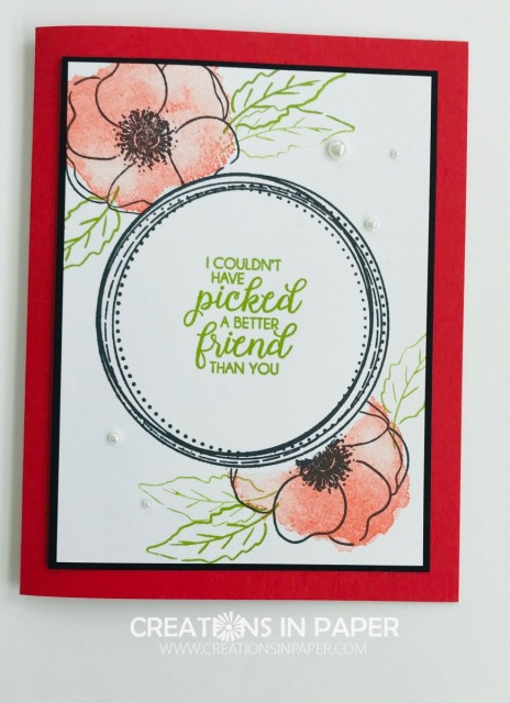 This Poppy Friend Idea card has just card stock layers. This is a great card to mail as it will not cost extra postage. All the details are on my blog.