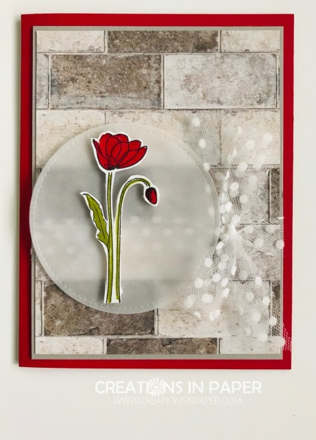 This masculine designer series paper is perfect for the pretty feminine flower bud. Get the details for the Wonderful Wednesday Poppy Flower card.