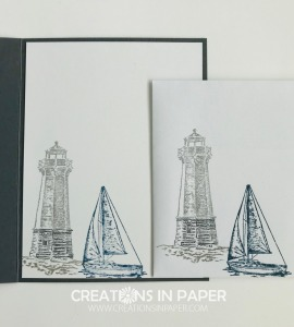 I love using this lighthouse and sailboat for masculine cards. Check out the interesting card creation for the Sailing Home Masculine Idea.