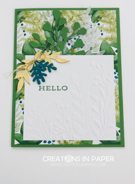 Isn't this a beautiful card? I used some designer series paper along with an embossing folder for this Forever Greenery Hello card.