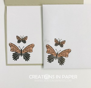 These cute butterflies make the cutest all occasion card. Check out the Butterfly Gala with Greenery Embossing Folder idea to see the card front.