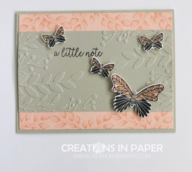 Here is the perfect All Occasion card! See the details and measurements for the Butterfly Gala with Greenery Embossing Folder card by clicking the photo.
