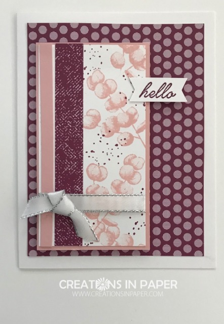 Check out this beautiful card! Watch the video for the Regals Rich Razzleberry Hello idea.