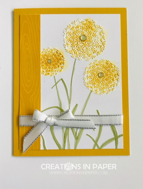 Do you remember blowing dandelions as a child? These are the best kind as it uses an embossing folder. Check out my Crushed Curry Regals Patterned Paper Stack for a pretty dandelion card.