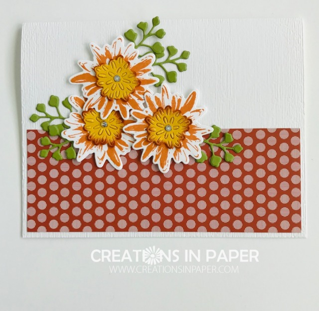 Check out this fun fall card. Some embossing and designer series paper with some die cuts and you have the perfect Cajun Craze Regals Patterned Paper Stack creation!