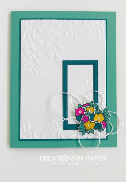 This sweet Framed Under My Umbrella uses a great color combo. This is just the cutest card. See all the details for this adorable card!