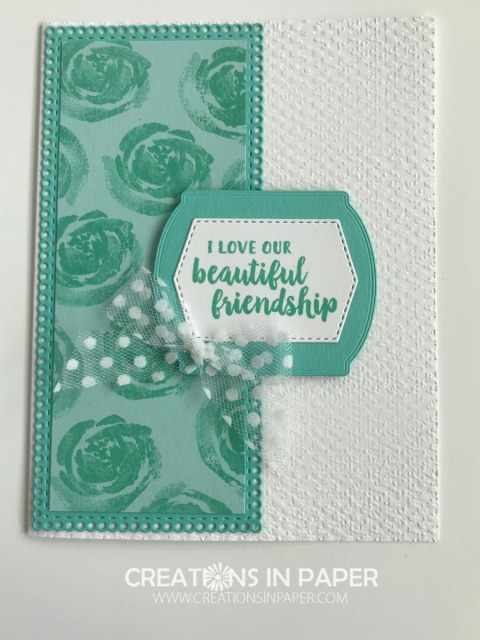 Do you know someone who would love to get this card? There is a lot of texture and die cuts used to make this Stampin' Up Beautiful Friendship creation.