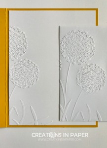 This is a great embossing folder. Perfect for decorating a card front or the inside or envelope. See how I used this embossing folder to make the Crushed Curry Regals patterned Paper Stack card.