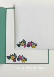 I love these little flower clusters and I used them alot. I used them for the sweetest Framed Under My Umbrella creation. Check it out and see the card front with a great color combo.