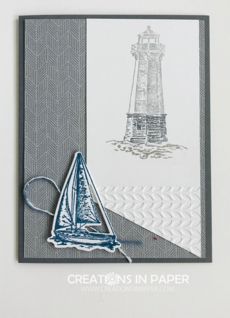 Another great masculine card idea. Don't you love this idea. See what designer series paper I used for the background of this Sailing Home Masculine Idea creation.