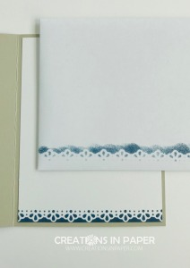 I used one of the dies from the card front to add some ink to the envelope and inside panel. Don't miss seeing the card front for the Ornate Borders Friend card to see how I used this die cut.
