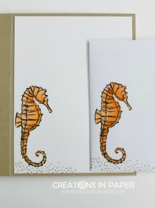 This adorable seahorse was use for my Seaside Notions with In Good Taste dsp. See the video as to how to make the cute card.