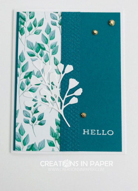 The Pretty Peacock color is a striking color. See the video showing how I used it with the Forever Greenery dsp to make this stunning Stampin' Up Forever Fern creation.