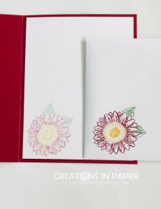 This cute image is easy to color using markers. Check out all the details as to the colors I used for the Small Sunflower in Cherry Cobbler card.