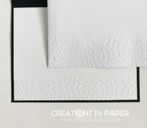 I used an embossing folder for the bottom of the inside panel and the envelope. See how I used it to create my Stampin' Up Cobwebs Embossing folder Cutout card.