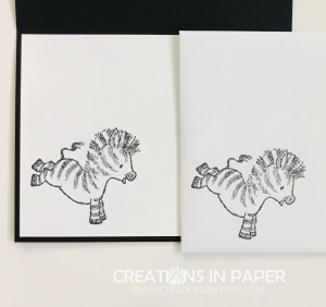 Isn't this little zebra so cute? He makes an adorable card. Click through to get the details for the Watercolor Circles Zany Zebras card.