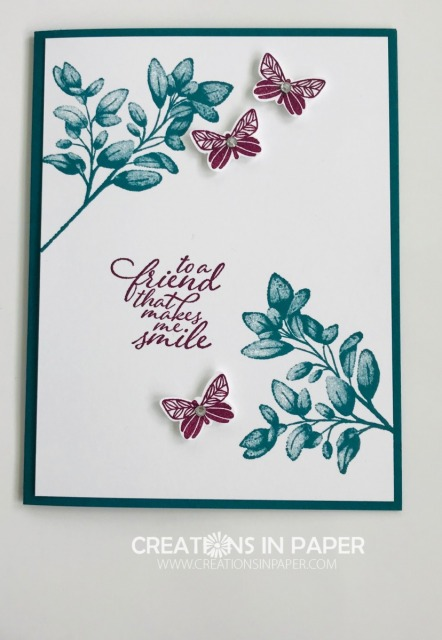 If you are looking for a quick card with a great color combination, check out the video for the Forever Fern from Stampin' Up.