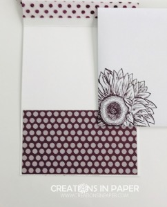 This card has a fun cut. It lets this great designer series paper show. Check out my Celebrate Sunflowers Celebrate You creation.