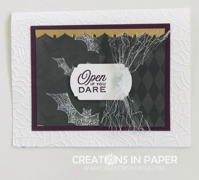 The Open if You Dare from Stampin' Up uses 2 pieces of designer series paper for the card front. The gold foil element is an off cut from a die. Watch the video to see what die I used.