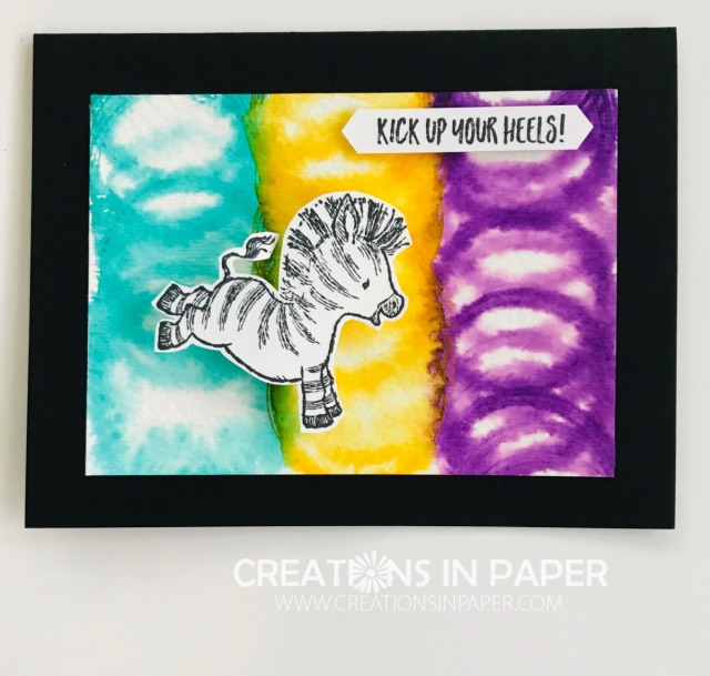 Check out this adorable Watercolor Circles Zany Zebras card. It is super easy to make and what kid wouldn't love to get this in the mail?